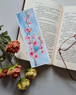 "Zakładka do książki malowana akwarelą ""Sakura"""