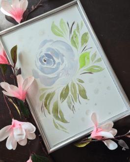 """Akwarelowa ilustracja """"Róża"""" A4 z ramką"""
