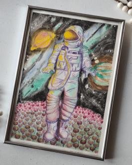"""Mixmediowa ilustracja """"Kosmiczny sen"""" A4 z ramką"""