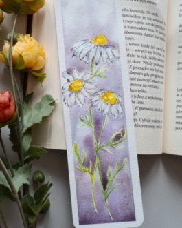 Zakładka do książki malowana akwarelą rumianek