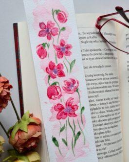 """Zakładka do książki malowana akwarelą """"Czerwone kwiaty"""""""