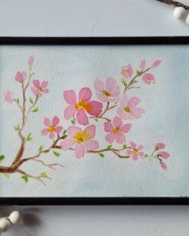 Akwarelowy obrazek kwitnąca wiśnia A5 z ramką