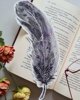 """Zakładka do książki malowana akwarelą """"Pióro"""""""